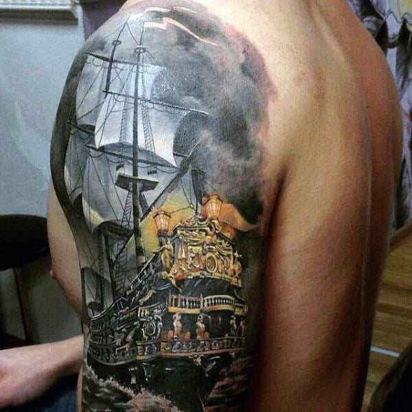 Guys Sailing Ship With Grey Cloudy Sky Watercolor Half Sleeve Tattoo