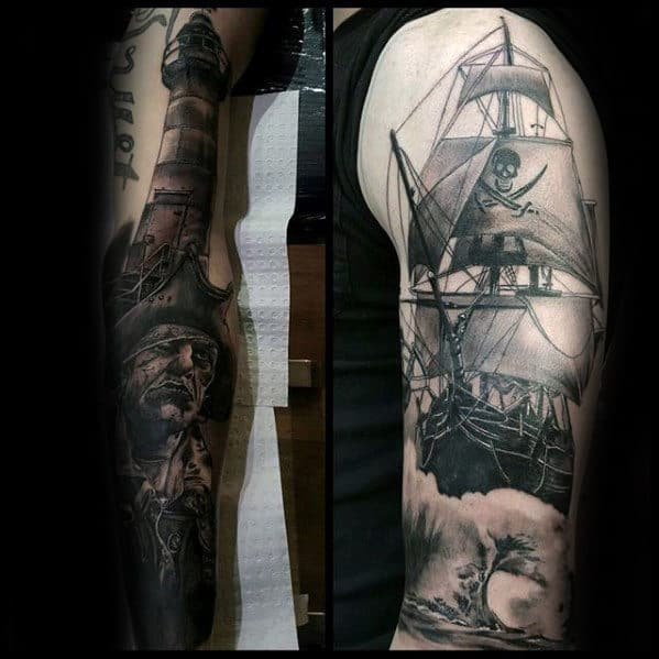 Guys Sailing Ship With Pirate Flag Arm Tattoo