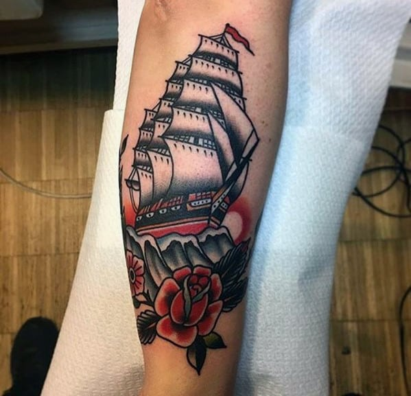 Guys Sailing Ship With Red Flower Traditional Leg Tattoo
