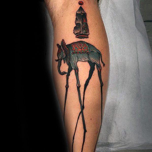 Guys Salvador Dali Elephant Tattoo Designs On Leg