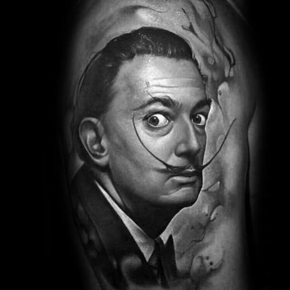 Guys Salvador Dali Tattoo Designs On Arm