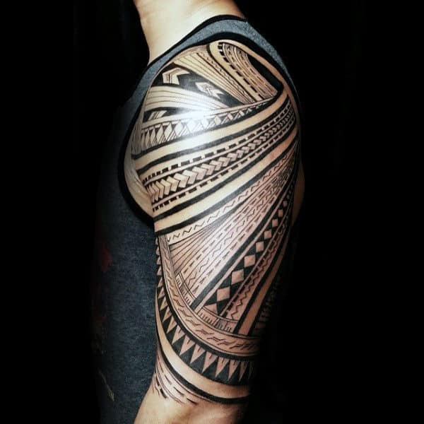 Guys Samoan Half Sleeve Designs Tribal Tattoos