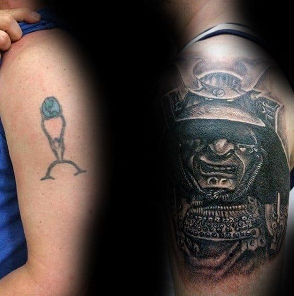 Guys Samuari Helmet Upper Arm Cover Up Tattoos