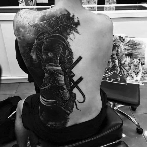 Guys Samuari Warrior Tattoo Ideas Epic Designs On Half Bck