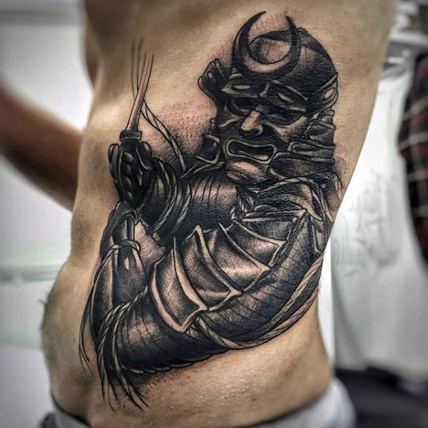 Guys Samurai Holding Sword Traditional Shaded Tattoo On Sude