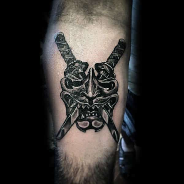 Guys Samurai Mask And Duel Sword Forearm Tattoo