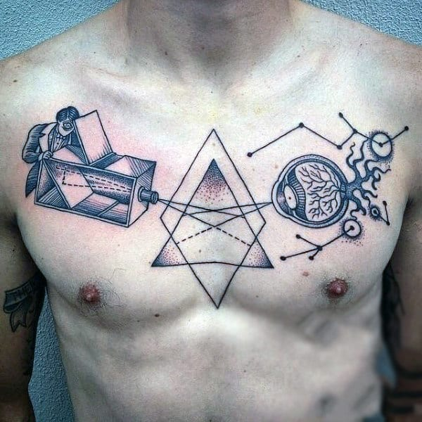 Guys Science Constellation Chest Tattoo In Black Ink With Linework