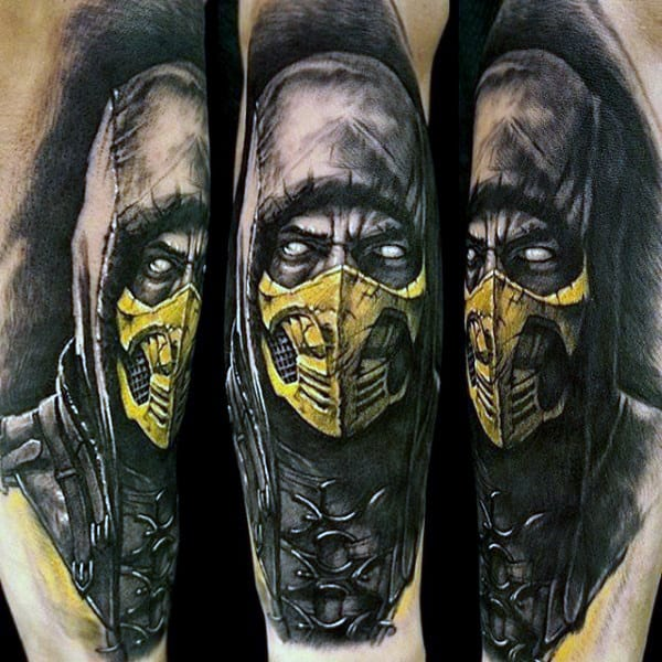 Guys Scorpion Mortal Kombat Arm Tattoo With Black Ink Watercolor Background