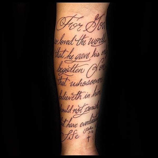 Guys Script Lettering John 316 Forearm Tattoo Design Ideas