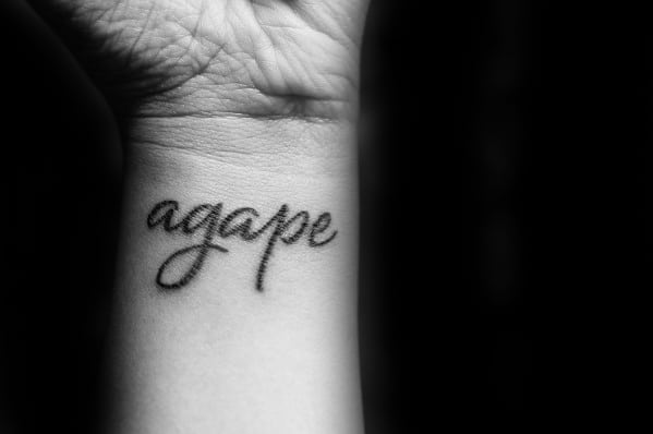 Guys Script Wrist Agape Tattoo