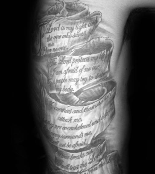 Guys Scroll Tattoo Inspiration On Rib Cage Side