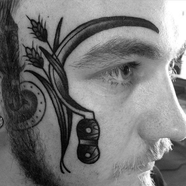 Guys Scythe With Wheat Old School Face Tattoo Designs
