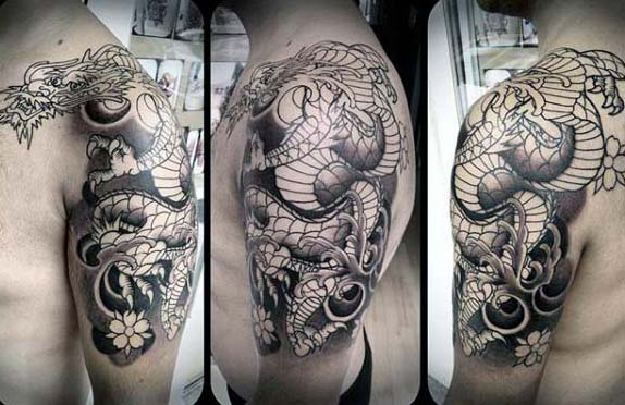 Guys Shaded Black And Grey Half Sleeve Tattoo With Japanese Dragon Design