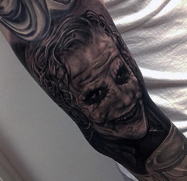 Guys Shaded Black And Grey Joker Sleeve Tattoos