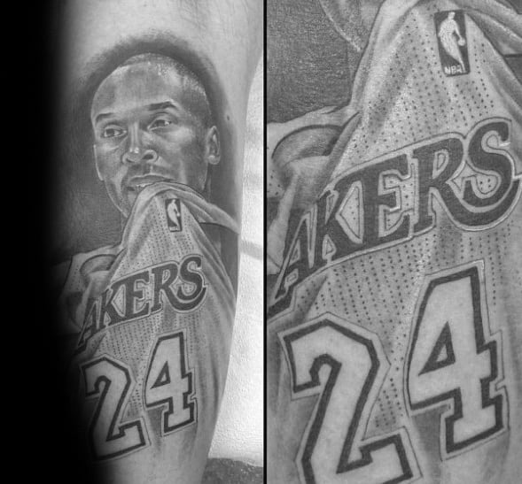Guys Shaded Black And Grey Kobe Bryant Tattoo Design Ideas