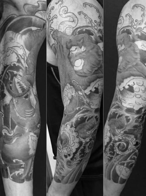 Guys Shaded Black And Grey Traditional Japanese Octopus Full Sleeve Tattoo Design