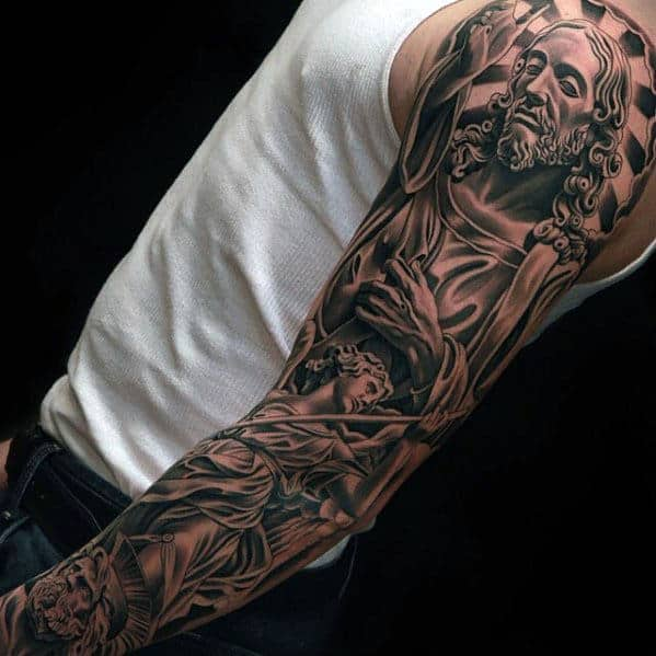 guys-shaded-black-ink-full-arm-jesus-with-angel-tattoo-sleeve
