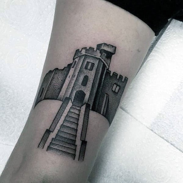 Guys Shaded Black Ink Simple Castle Tattoo On Forearm