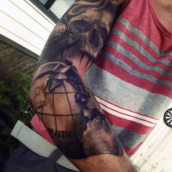 Guys Shaded Globe Skull Sleeve Tattoos
