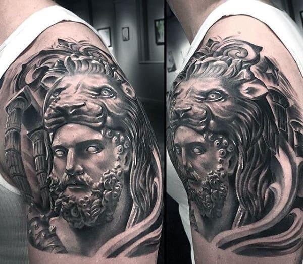 Guys Shaded Half Sleeve Hercules Lionskin Tattoo