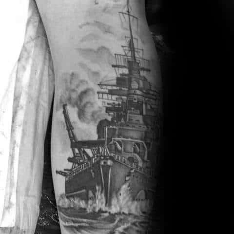 Guys Shaded Leg Battleship Tattoos