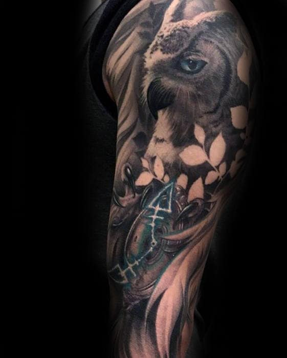 Guys Shaded Owl With Blue Eyes Sleeve Tattoo Designs