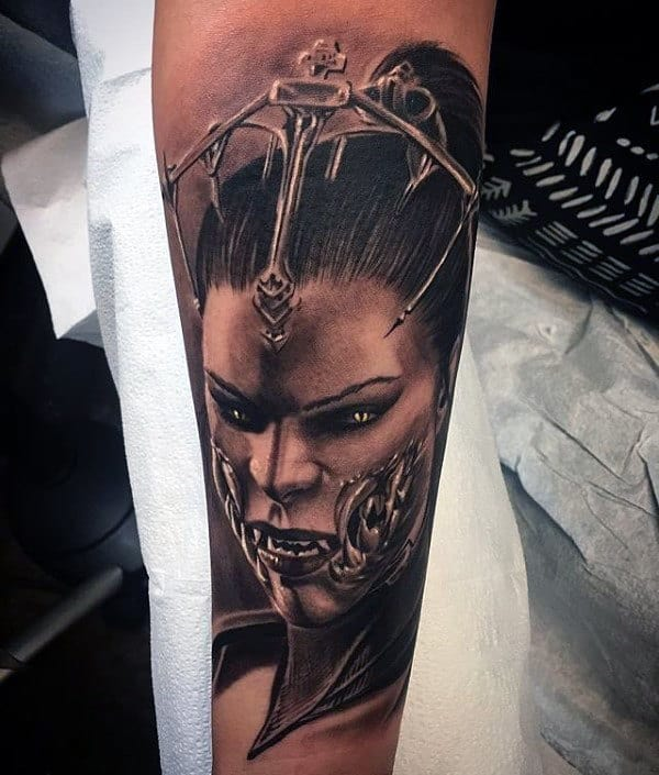 Guys Shaded Portrait Tattoo Of Mileena From Mortal Kombat On Inner Forearms