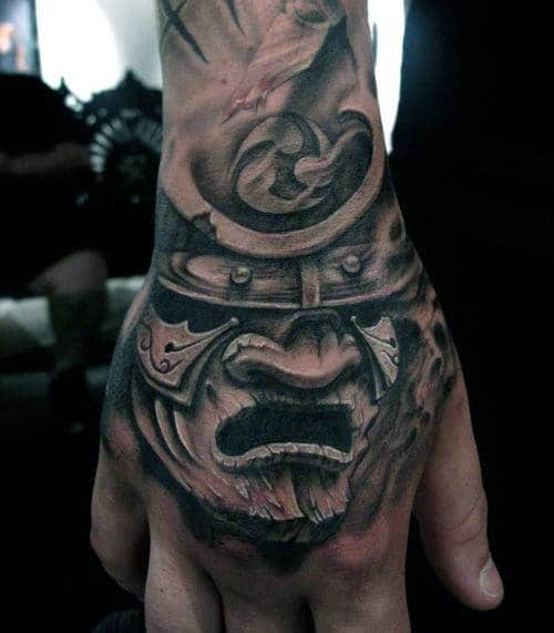 Guys Shaded Samurai Mask Hand Tattoo
