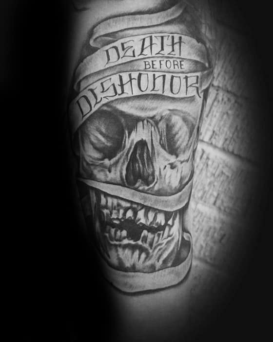 Guys Shaded Skull Death Before Dishonor Inner Forearm Tattoo Ideas