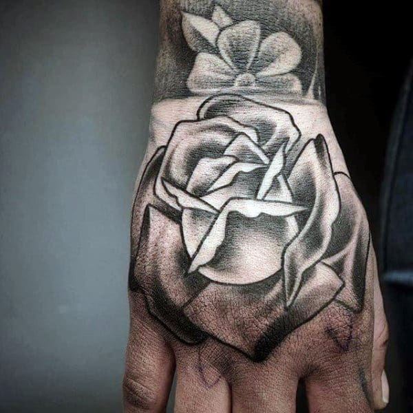 Guys Shaded Traditional Rose Flower Hand Tattoos