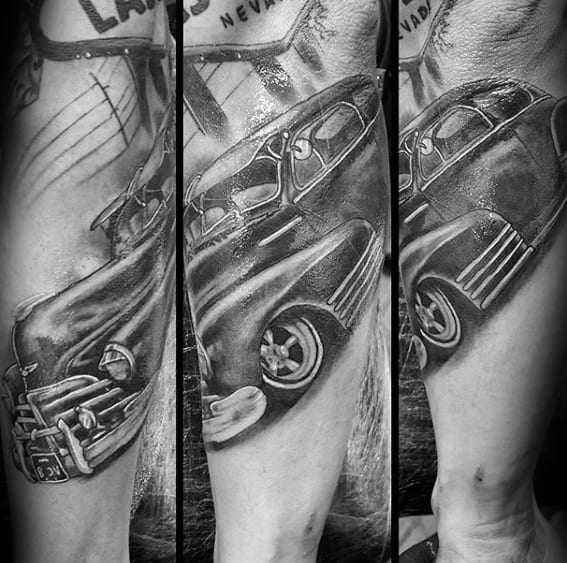 Guys Shaded Vintage Chevy Outer Forearm Tattoo Ideas