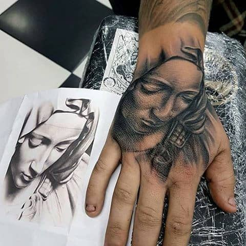 Guys Shaded Virgin Mary Hand Tattoo Ideas