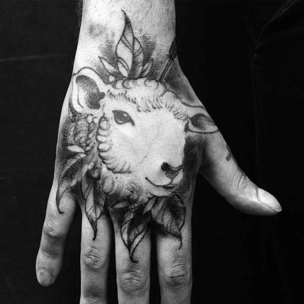 Guys Sheep Tattoo On Hand