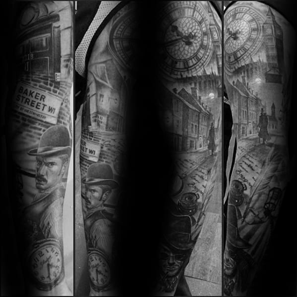 Guys Sherlock Holmes Full Arm Shaded Sleeve Tattoo Design Ideas