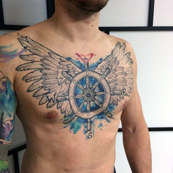 Guys Ship Wheel With Wings Artsy Watercolor Chest Tattoos