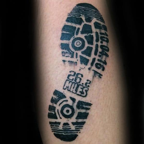 Guys Shoe Print Miles Running Black Ink Tattoo On Arm