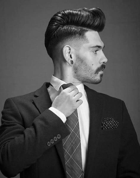Guys Short Pompadour Haircut