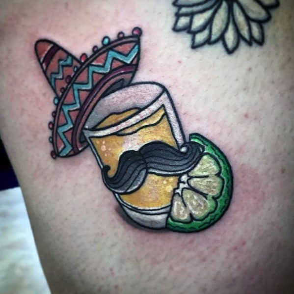 Guys Shot Glass Tattoo Design Ideas