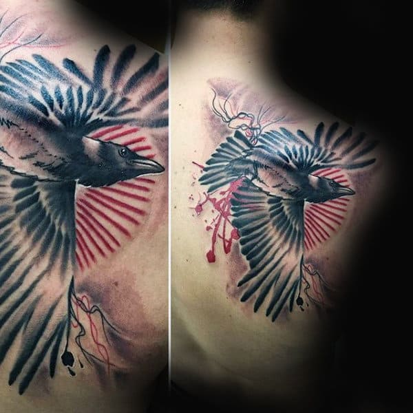 Guys Shoulder Abstract Crow Tattoo Ideas