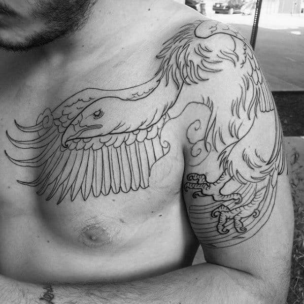 Guys Shoulder Arm And Chest Vulture Black Ink Outline Tattoos