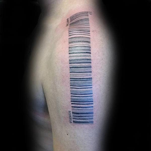 Guys Shoulder Barcode Tattoos