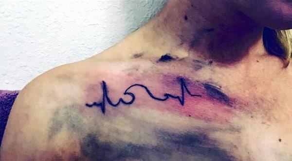 Guys Shoulder Heartbeat Tattoo