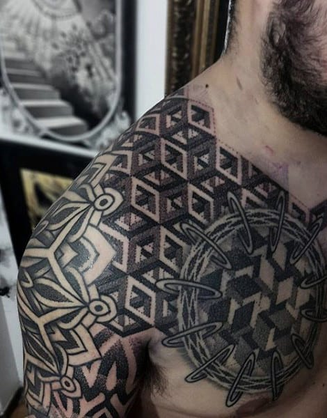 Guys Shoulder Pattern Tattoo