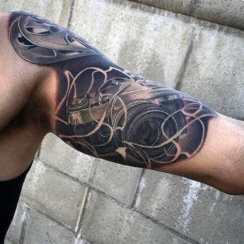 Guys Shoulders Smoly Camera Tattoo