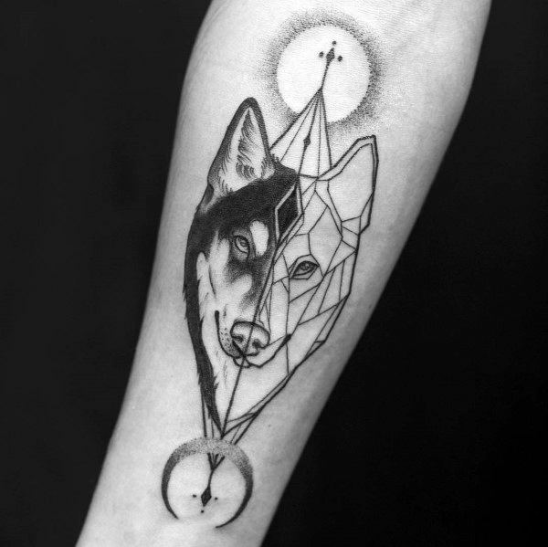 Guys Siberian Husky Tattoo Design Ideas