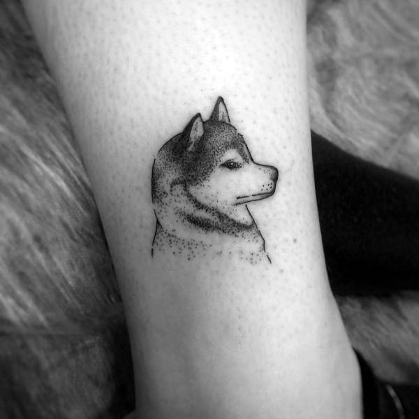 Guys Siberian Husky Tattoos