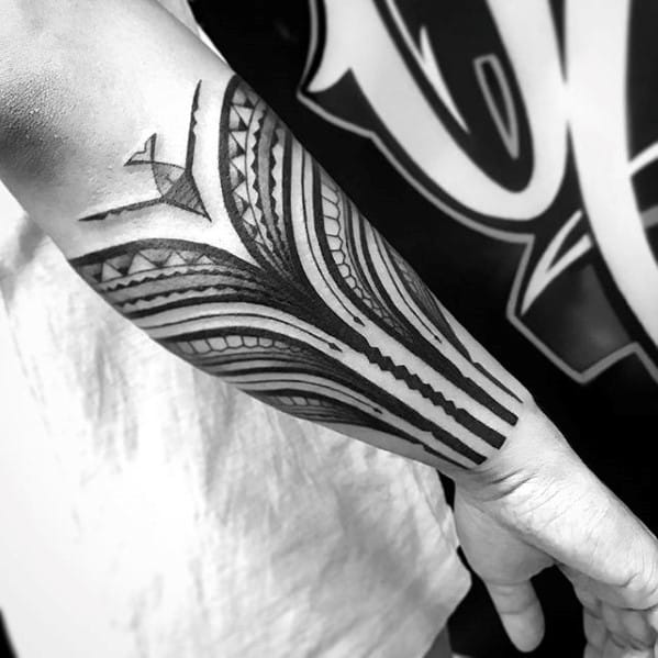 Guys Sick Forearm Sleeve Tattoo With Tribal Design