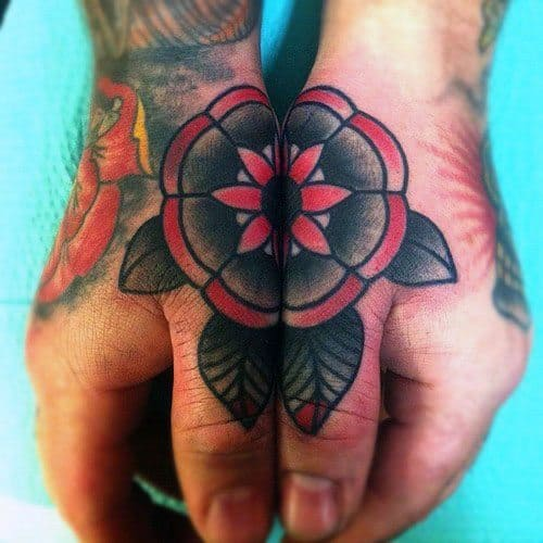 Guys Side Hand Old School Traditional Flower Tattoos