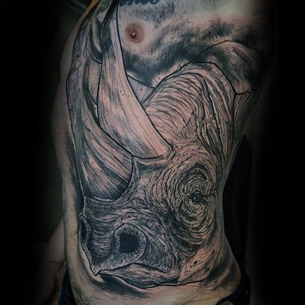 Guys Side Rib Magnificient Grey Dinosaur Tattoo