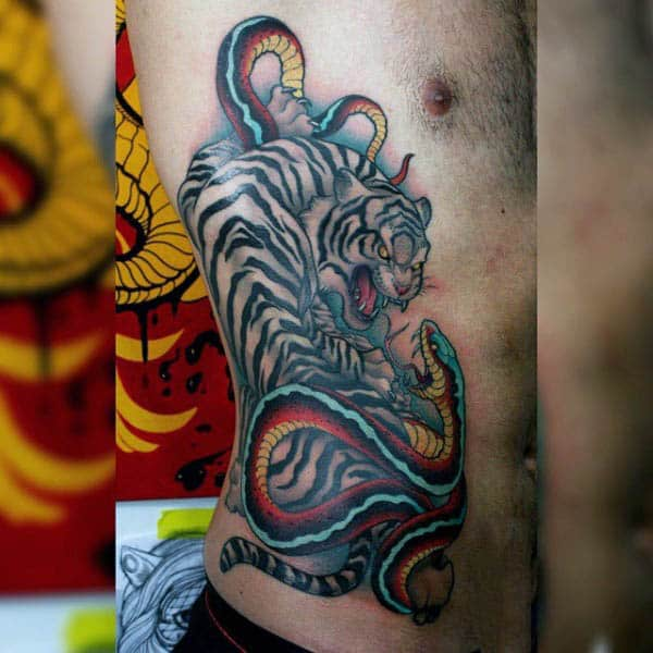 Guys Side Tiger And Serpent Neo Traditional Tattoo